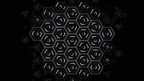 Abstract Digital Hexagon Icons Drawing on Black Background Filling the Screen Videos animados