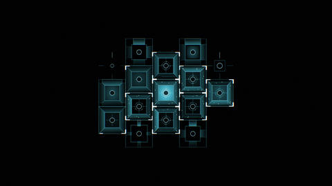 Abstract Digital Blue Square Icons Drawing on Black Background Filling the Animation