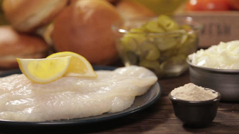 Fish Burger Ingredients - Closeup - Slider - Right To Left Live Action