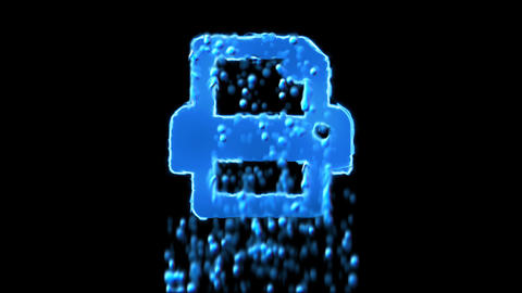 Liquid symbol print appears with water droplets. Then dissolves with drops of Animation