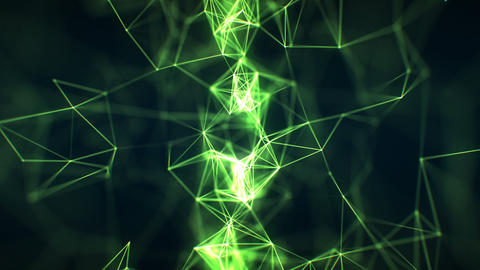 Beautiful Abstract Growing Network Close-up Green Color in Cyberspace Seamless Animation