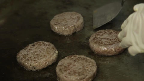 Meat Patty - Cooking Beef Paties On The Griddle - Top Angle 3 Live Action