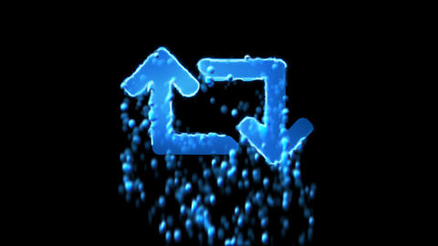 Liquid symbol retweet appears with water droplets. Then dissolves with drops of Animation