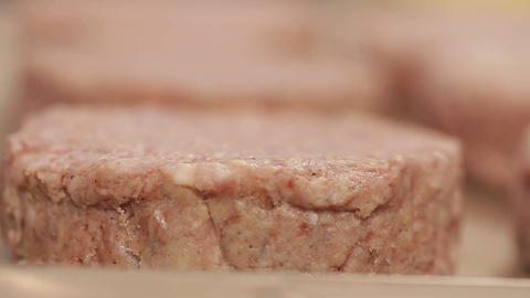 Meat Patty - Raw Beef Patty - Close Up - Focus Pull 2 Live Action