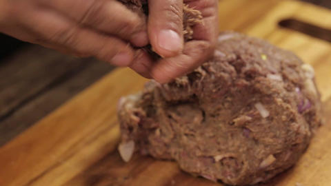 Meat Patty Mixture - Making Meat Balls With Hands and Weighing Them Live Action