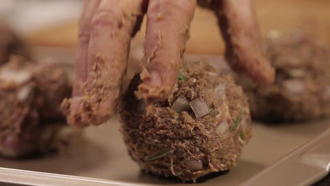 Meat Patty Mixture - Putting Meat Ball On A Tray - Close Up 2 Live Action