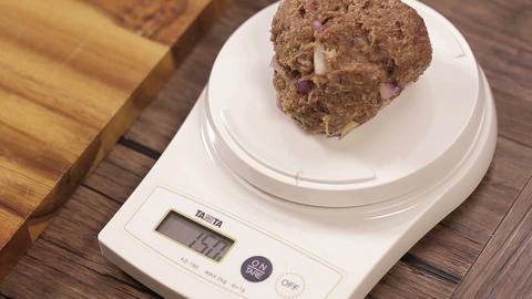 Meat Patty Mixture - Weighing Meat Ball of 150 Grams Live Action