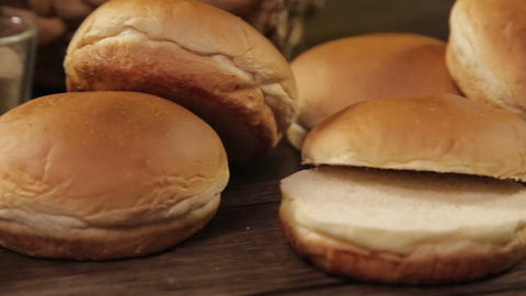 Buns - Round Fresh Buns On Table - Slider - Right To Left Footage