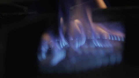 Fire - Stove Fire Close Up - Low To High Flames Footage