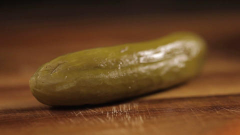 Pickles - Close Up - Cutting Pickle On Wood - Complete Process - Side Angle 2 Footage