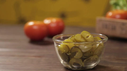 Pickles - Cut Pickles In A Boul - Slider - Left To Right Footage