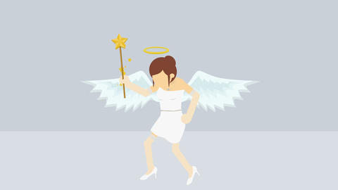 Cute angel illustration. Love & peace. Business character. Cosplay. Abstract Animation