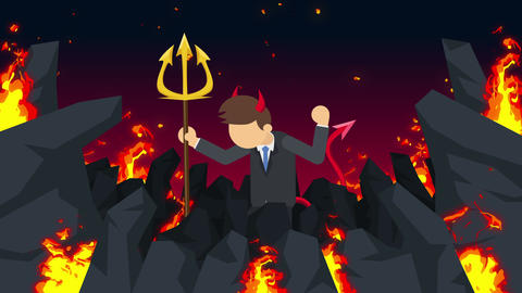 Cartoon devil flying on hell. Business character on…, Stock Animation