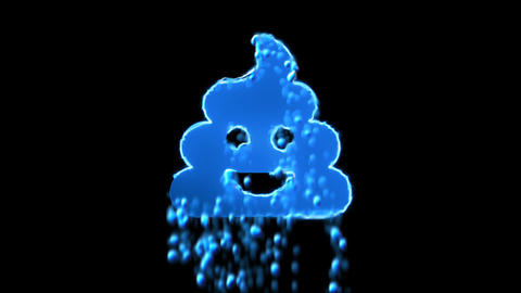 Liquid symbol poo appears with water droplets. Then dissolves with drops of Animation