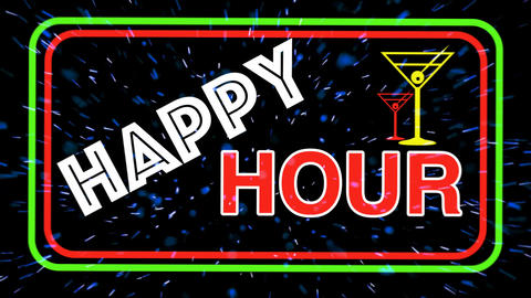 HAPPY HOUR sign for restaurant & Bar CG動画素材