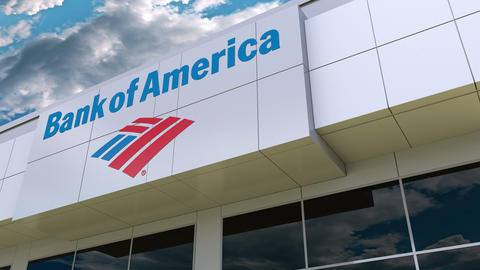 Bank of America logo on the modern building facade. Editorial 3D rendering Footage