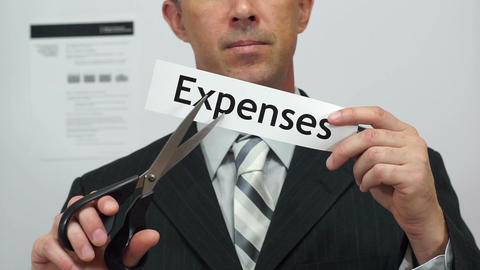 Businessman Cuts Expenses Concept Footage