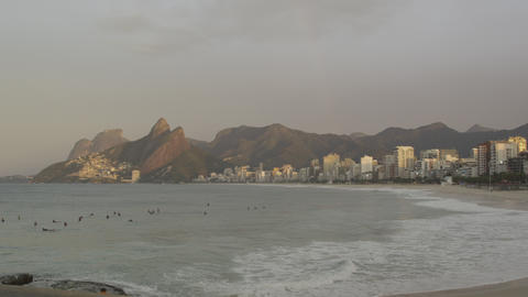 Early-morning surfing at Ipanema beach Footage