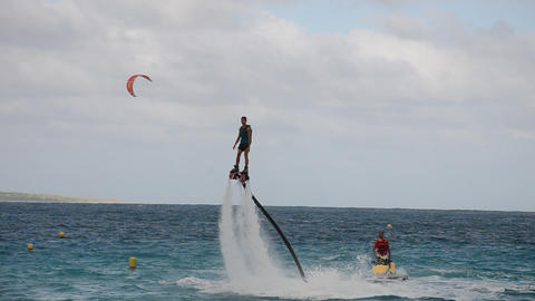 esibition of flyboard on sea Footage