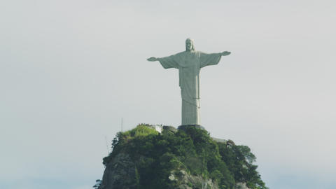 Still shot of Christ statue above Rio Footage