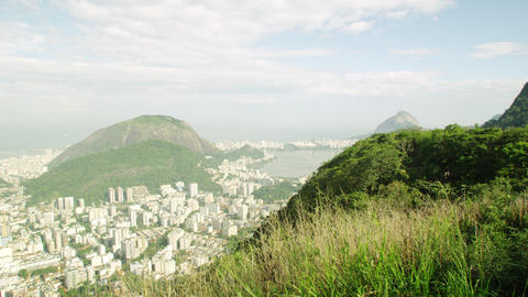 Day pan of Christ statue and Rio de Janeiro Footage