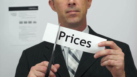 Businessman Cuts Prices Concept Footage