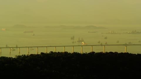 Long shot panning footage of Rio-Niteroi Bridge Footage