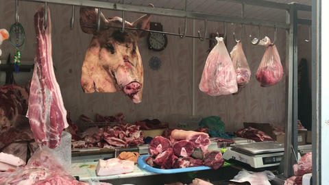 butcher shop with meat on the market Footage