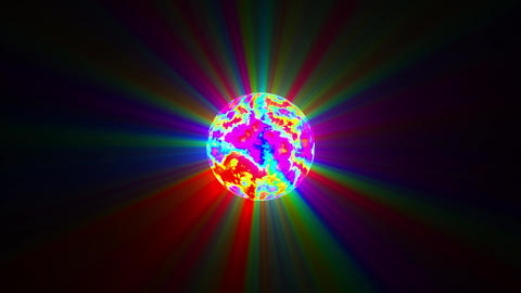 Small Psychedelic Sphere Colorful Rays Abstract Motion Background Loop Slow Animation