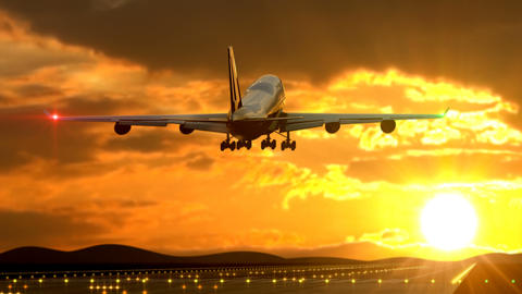 Passenger airplane landing against sunset caught by camera Animation