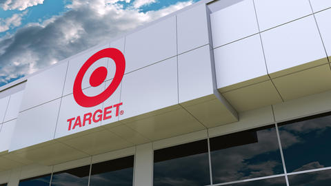 Target Corporation logo on the modern building facade. Editorial 3D rendering Footage