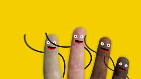 fingers of a hand of various ethnic groups with smiley faces and arms greet us Live Action
