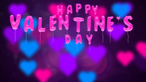 Valentine's day balloons fly on abstract backdrop, Stock Animation