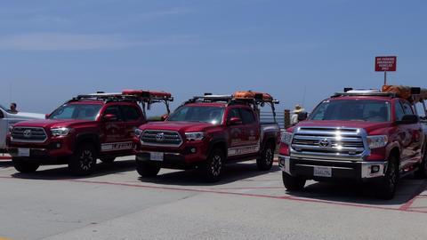 Lifeguard Trucks At La Jolla Beach San Diego California USA Footage