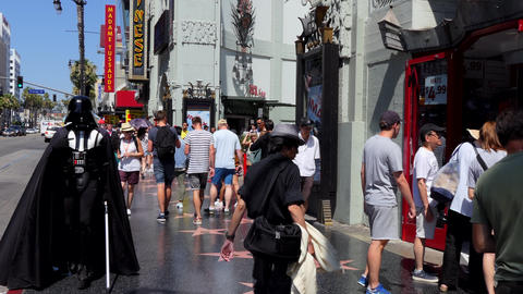 People Tourists Crowd At Chinese Theatre Los Angeles California USA Footage