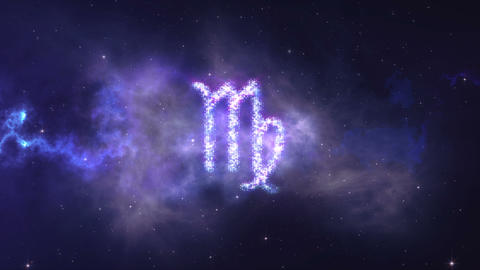 zodiac sign Virgo forming from the stars with space background Footage