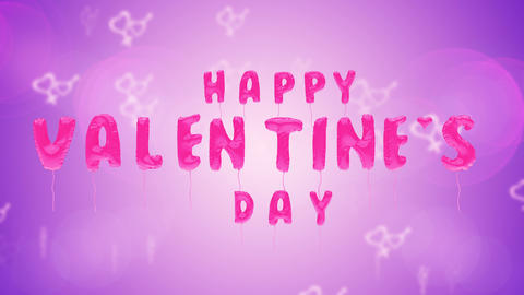 Valentine's day text balloons on purple background Animation
