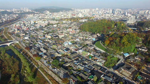 Aerial View of Jeonju Hanok Village 02 Live Action