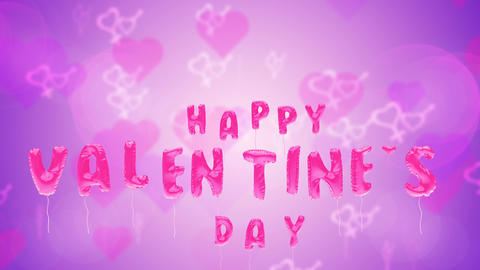 Valentine's day balloons fly on purple backdrop Animation