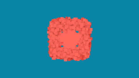 Behind the squares appears the symbol dice four. In - Out. Alpha channel Animation