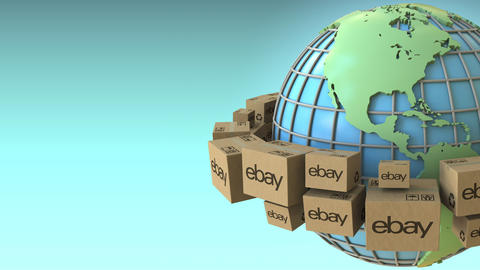 Cartons with eBay logo around the world, America emphasized. Conceptual Live Action