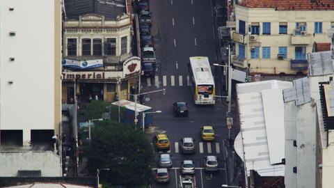 Looking down on busy Rio intersection Footage