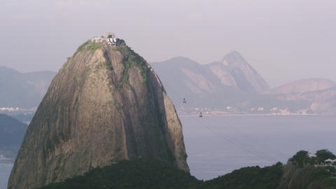 Static shot of cable cars traveling to Sugarloaf mountain in Rio De Janeiro Footage