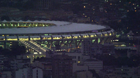 High-angle medium night shot of Maracanã stadium Live Action