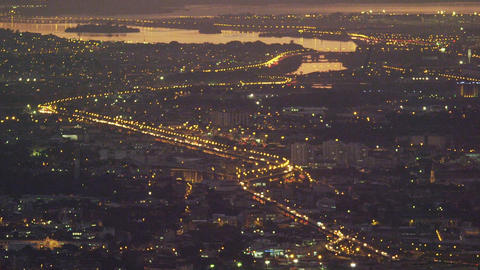High-angle night pan of Rio de Janeiro Footage