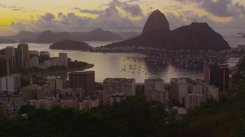 Tracking shot of a city view of Rio de Janeiro and Botafogo Bay Footage