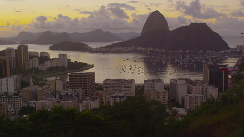 Tracking shot of Botafogo Bay, Sugarloaf, Rio de Janeiro, and Atlantic Ocean Footage
