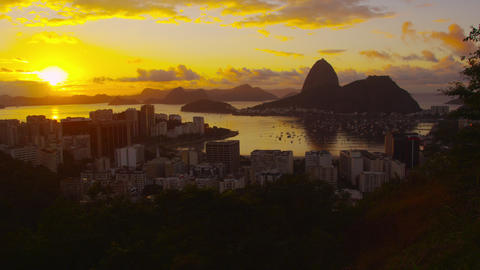 Setting sun over Botafogo Bay and Atlantic Ocean Footage