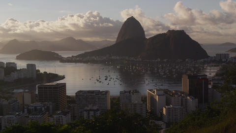 Sugar Loaf mountain and Botafogo Bay from a park overlooking Rio de Janeiro, Bra Footage