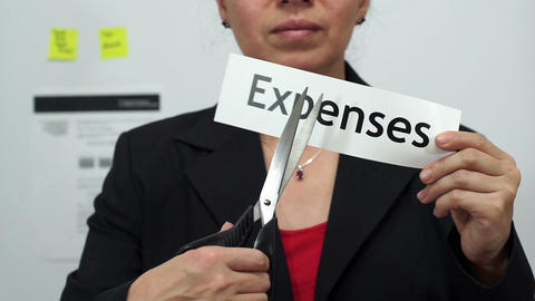 Businesswoman Cuts Expenses Concept Footage